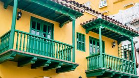 Cartagena Street Balcony Colombia South America. Very much one of the main tourist attractions and points of interest in the area Royalty Free Stock Images