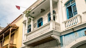 Cartagena Street Balcony Colombia South America. Very much one of the main tourist attractions and points of interest in the area Royalty Free Stock Image