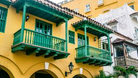 Cartagena Street Balcony Colombia South America. Very much one of the main tourist attractions and points of interest in the area Royalty Free Stock Photo