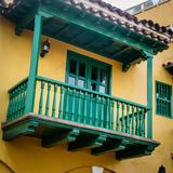 Cartagena Street Balcony Colombia South America royalty free stock photo