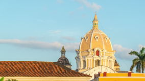 Cartagena Time Lapse. Time lapse of sunset on a church in Cartagena, Colombia stock footage