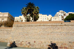 Cartagena walls, spain. View of the walls surrounding cartagena, in spain stock images