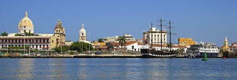 Cartajena,哥伦比亚全景,加勒比 免版税库存图片