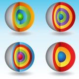 cartas acodadas 3D de la esfera de la base Imagenes de archivo