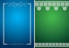Cartas azules y verdes con los marcos florales blancos ilustración del vector