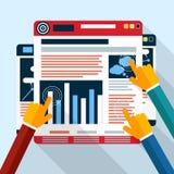 Cartas da analítica do seo da site na tela do PC Fotografia de Stock