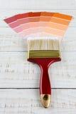 Cartas da escova e da amostra de pintura Imagens de Stock