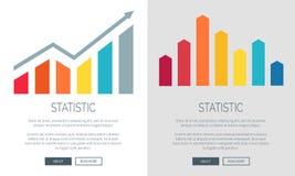 Cartas da estatística nas bandeiras do Internet do Promo ajustadas Fotos de Stock Royalty Free