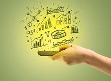 Cartas das vendas sobre o telefone celular à disposição Fotografia de Stock