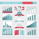 Cartas de elementos de Infographic, gráfico, diagrama, setas, sinais, barras, botões, beiras etc. ilustração royalty free