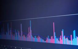 Cartas de instrumentos financeiros com vário tipo de indicadores Fotografia de Stock