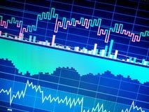 Cartas de instrumentos financeiros com vário tipo de indicadores, fim acima fotos de stock royalty free
