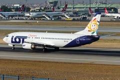Cartas de la PORCIÓN de SP-LLE, Boeing 737-45D fotografía de archivo libre de regalías