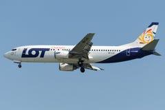 Cartas de la PORCIÓN de SP-LLE, Boeing 737-45D foto de archivo libre de regalías