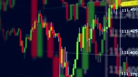 Cartas de mudanza con datos financieros sobre un monitor Datos del mercado de acci?n almacen de video
