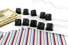 Cartas de negócio com COMPRA OU SELL imagem de stock royalty free