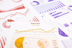 Cartas de negocio, análisis de datos, informe de márketing y educativo Imagenes de archivo