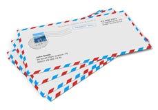 Cartas de papel del correo Fotos de archivo libres de regalías