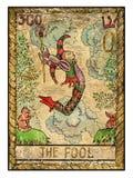 Cartas de tarot viejas Cubierta llena El tonto Fotografía de archivo libre de regalías