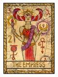 Cartas de tarot viejas Cubierta llena La emperatriz stock de ilustración