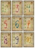 Cartas de tarot viejas Cubierta llena Números de pentáculos Foto de archivo libre de regalías