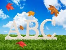 Cartas del ABC con las hojas de otoño Fotografía de archivo libre de regalías