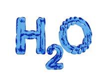 Cartas del agua de H2O Imagenes de archivo