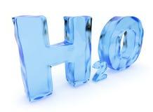 Cartas del agua de H2O. Aislado, ilustración 3D Fotografía de archivo libre de regalías