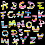 Cartas del alfabeto con adornos decorativos étnicos Imagen de archivo