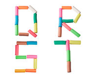 Cartas del alfabeto del Plasticine (Q, R, S, T) Fotos de archivo libres de regalías