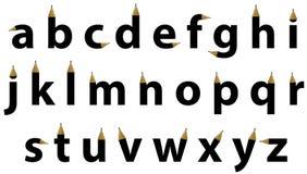 Cartas del alfabeto inglés en dimensión de una variable del diseño del lápiz Imagen de archivo libre de regalías