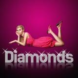 Cartas del diamante y mujer rubia Imágenes de archivo libres de regalías