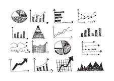 Cartas del gráfico de negocio del garabato de la mano Fotos de archivo