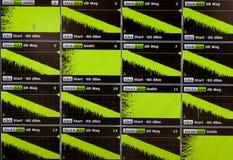 Cartas del osciloscopio en la exhibición Foto de archivo libre de regalías