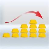 Cartas del precio del oro para el ejemplo del mercado de acción stock de ilustración
