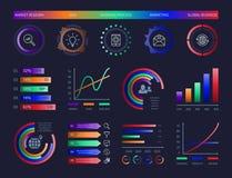 Cartas digitais da informação do molde do projeto do painel da carta dos dados gráficos da ilustração dos diagramas infographic d ilustração royalty free