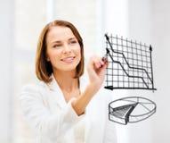 Cartas do desenho da mulher de negócios no ar Fotografia de Stock Royalty Free