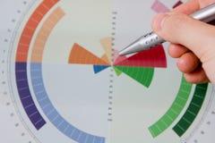 Cartas do gráfico apontando da mão Fotografia de Stock