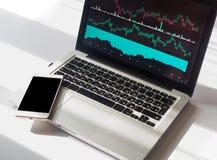 Cartas do gráfico de negócio com os vários indicadores indicados no portátil, telefone com espaço da cópia Fotos de Stock Royalty Free