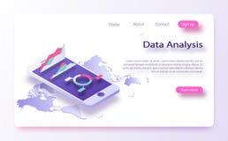 Cartas do negócio e dos dados, informação entrante isométrica Análise de dados, infromation que searchning, pergunta do centro de ilustração stock