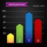 Cartas e gráficos coloridos infographic pretos de couro Fotos de Stock Royalty Free