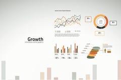 Cartas e gráficos de crescimento para o negócio Foto de Stock Royalty Free