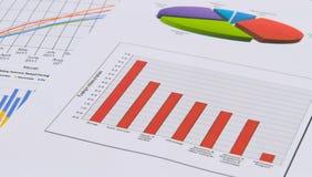 Cartas e gráficos de negócio Imagens de Stock Royalty Free
