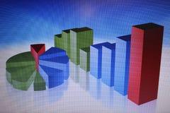 Cartas e gráficos financeiros em uma grande tela Imagens de Stock