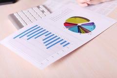 Cartas e gráficos financeiros na tabela Fotografia de Stock