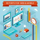 Cartas e informes de negocio sobre las páginas web, móviles ilustración del vector