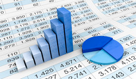 Cartas e spreadsheets Foto de Stock