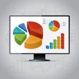 Cartas en monitor stock de ilustración