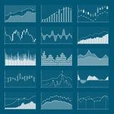 Cartas financeiras dos dados comerciais Gráficos de análise conservada em estoque Crescendo e grupo do vetor dos gráficos do merc Imagem de Stock Royalty Free