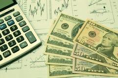Cartas financeiras e dólar americano #2 Foto de Stock Royalty Free